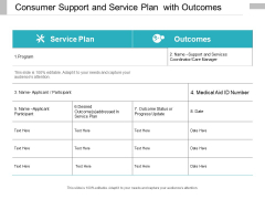 Consumer Support And Service Plan With Outcomes Ppt Powerpoint Presentation Gallery Visual Aids