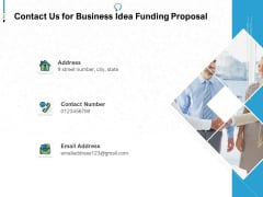 Contact Us For Business Idea Funding Proposal Ppt PowerPoint Presentation Show Design Inspiration