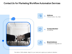 Contact Us For Marketing Workflow Automation Services Ppt PowerPoint Presentation File Rules PDF