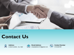Contact Us Two Person Handshake Ppt PowerPoint Presentation Professional Format