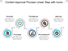 Content Approval Process Linear Step With Icons Ppt PowerPoint Presentation Visual Aids Background Images