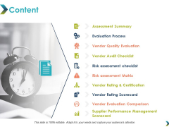 Content Assessment Summary Ppt PowerPoint Presentation Icon Clipart Images