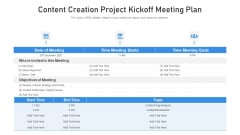 Content Creation Project Kickoff Meeting Plan Ppt PowerPoint Presentation File Graphics Template PDF