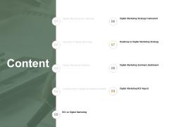 Content Digital Marketing Summary Ppt Powerpoint Presentation Show Templates