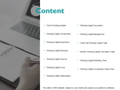 Content Elements Optimization Ppt PowerPoint Presentation File Grid