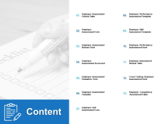Content Employee Assessment Ppt PowerPoint Presentation Styles Graphics Tutorials