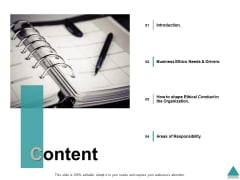 Content Introduction Areas Of Responsibility Ppt PowerPoint Presentation Model Deck