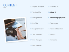 Content Our Photography Team Ppt PowerPoint Presentation Infographic Template Microsoft