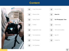 Content Our Photography Team Ppt PowerPoint Presentation Summary Slide Portrait