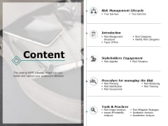Content Risk Management Ppt PowerPoint Presentation Layouts Topics