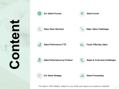 Content Sales Process Sales Funnel Ppt PowerPoint Presentation Gallery Designs