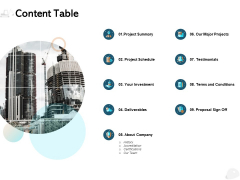 Content Table Ppt PowerPoint Presentation Infographics Layout