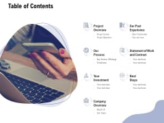 Content Writing For Website Proposal Table Of Contents Ppt Model Graphics PDF