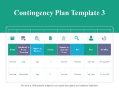 Contingency Plan Template 3 Ppt PowerPoint Presentation Ideas Template