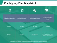 Contingency Plan Template 5 Ppt PowerPoint Presentation Pictures Example File