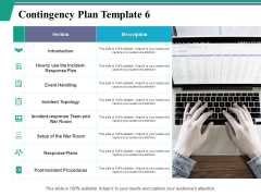 Contingency Plan Template 6 Ppt PowerPoint Presentation Visual Aids Icon
