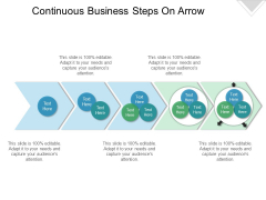 Continuous Business Steps On Arrow Ppt PowerPoint Presentation Gallery Maker