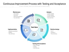 Continuous Improvement Process With Testing And Acceptance Ppt PowerPoint Presentation Show Themes PDF