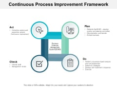 Continuous Process Improvement Framework Ppt PowerPoint Presentation Summary Pictures