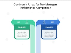 Continuum Arrow For Two Managers Performance Comparison Ppt PowerPoint Presentation Outline Layouts PDF