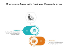 Continuum Arrow With Business Research Icons Ppt PowerPoint Presentation Icon Brochure PDF