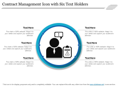 Contract Management Icon With Six Text Holders Ppt PowerPoint Presentation Model Clipart Images