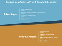 Contract Manufacturing Pros And Cons With Separator Ppt PowerPoint Presentation Pictures Slides