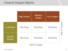 Control Impact Matrix Template 1 Ppt PowerPoint Presentation Infographic Template Styles