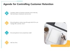 Controlling Customer Retention Agenda For Controlling Customer Retention Ppt Outline Show PDF