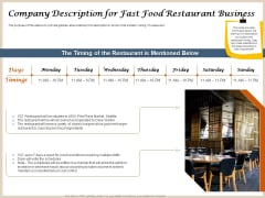 Convenience Food Business Plan Company Description For Fast Food Restaurant Business Professional PDF