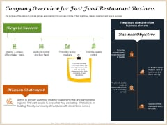 Convenience Food Business Plan Company Overview For Fast Food Restaurant Business Topics PDF