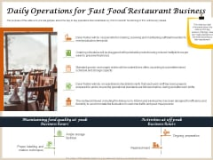 Convenience Food Business Plan Daily Operations For Fast Food Restaurant Business Microsoft PDF