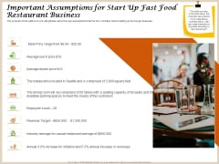 Convenience Food Business Plan Important Assumptions For Start Up Fast Food Restaurant Business Information PDF