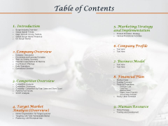 Convenience Food Business Plan Table Of Contents Ppt Gallery Show PDF