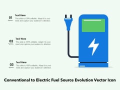 Conventional To Electric Fuel Source Evolution Vector Icon Ppt PowerPoint Presentation Icon Outline PDF