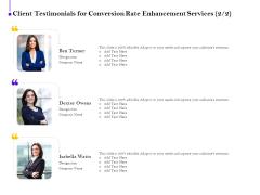 Conversion Rate Optimization Client Testimonials For Conversion Rate Enhancement Services Designation Background PDF