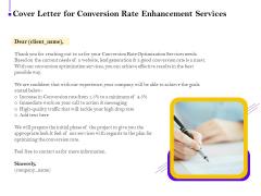 Conversion Rate Optimization Cover Letter For Conversion Rate Enhancement Services Ppt Model Designs Download PDF
