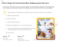 Conversion Rate Optimization Next Steps For Conversion Rate Enhancement Services Ppt Inspiration Diagrams PDF