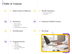 Conversion Rate Optimization Table Of Content Ppt Portfolio Images PDF