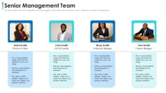 Convertible Bond Financing Pitch Deck Senior Management Team Information PDF