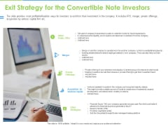 Convertible Bonds Pitch Deck For Increasing Capitals Exit Strategy For The Convertible Note Investors Ideas PDF