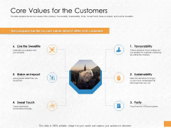 Convertible Debenture Funding Core Values For The Customers Ppt Professional Outfit PDF