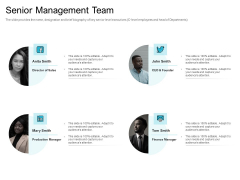 Convertible Market Notes Senior Management Team Ppt Ideas PDF