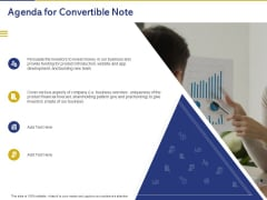Convertible Note Pitch Deck Funding Strategy Agenda For Convertible Note Ppt PowerPoint Presentation Show Rules PDF
