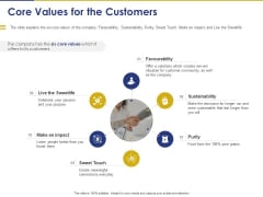 Convertible Note Pitch Deck Funding Strategy Core Values For The Customers Ppt PowerPoint Presentation Icon Pictures PDF
