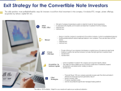 Convertible Note Pitch Deck Funding Strategy Exit Strategy For The Convertible Note Investors Ppt PowerPoint Presentation Icon Structure PDF