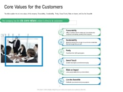 Convertible Preferred Stock Funding Pitch Deck Core Values For The Customers Elements PDF