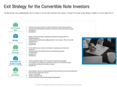 Convertible Preferred Stock Funding Pitch Deck Exit Strategy For The Convertible Note Investors Graphics PDF