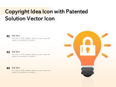 Copyright Idea Icon With Patented Solution Vector Icon Ppt PowerPoint Presentation Infographics Graphic Tips PDF