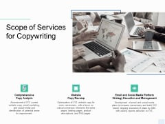 Copywriting Service Scope Of Services Ppt Gallery Template PDF